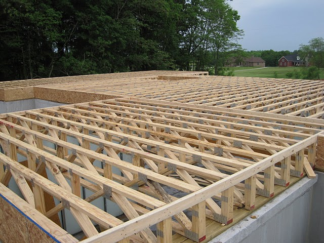 Ridge beam fresh egg build Floor joist trusses